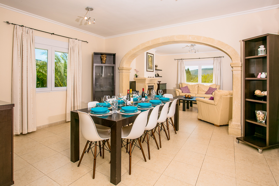 javea spain private holiday villa dining room with plates, wine & wine glass