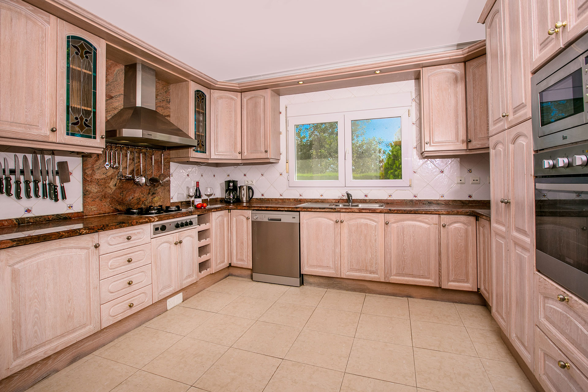 Javea rentals spacious well fitted kitchen.
